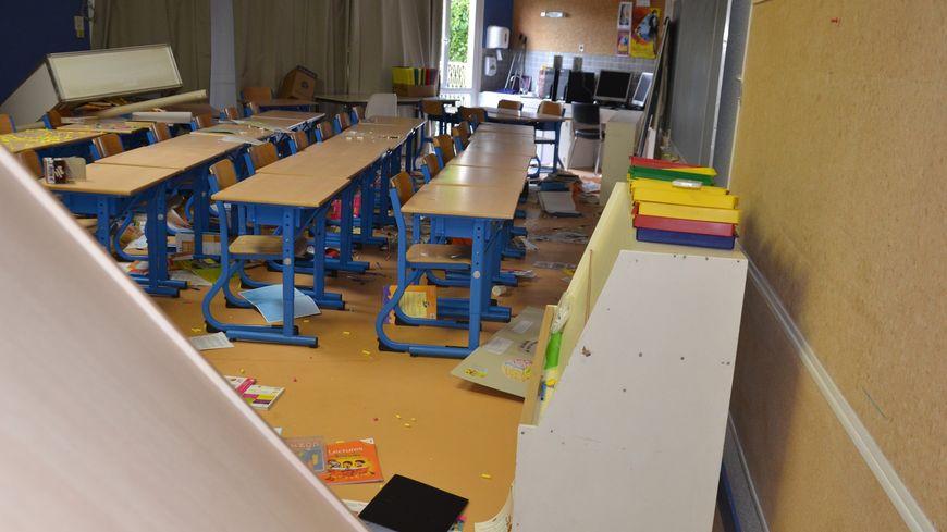 école vandalisée Boulazac salle de classe