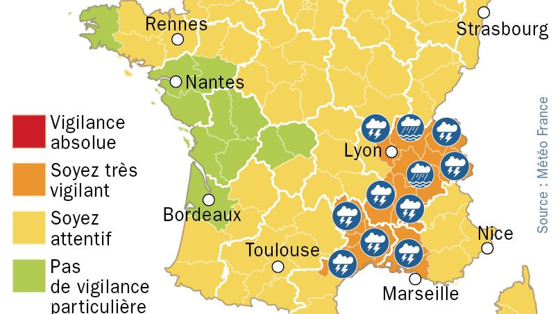 Orages : les 12 départements en vigilance orange