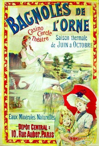 Publicité du XIXe siècle pour les bains de Bagnoles-de-l'Orne