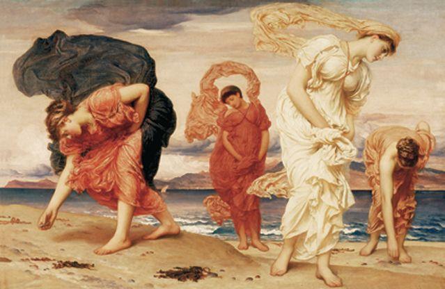 Frederic Leighton. Jeunes Filles grecques ramassant des galets sur la plage, 1871 - Collection Pérez Simón, Mexico