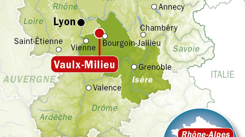 Carte de localisation de Vaulx-Milieu