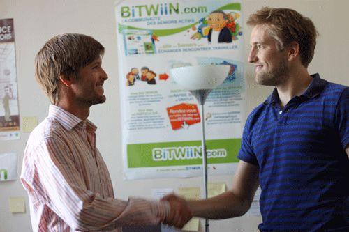 """Bertrand Favre, fondateur du site bitwiin.com ici, avec Benoît Richard, patron de """"class and co"""" entreprise"""