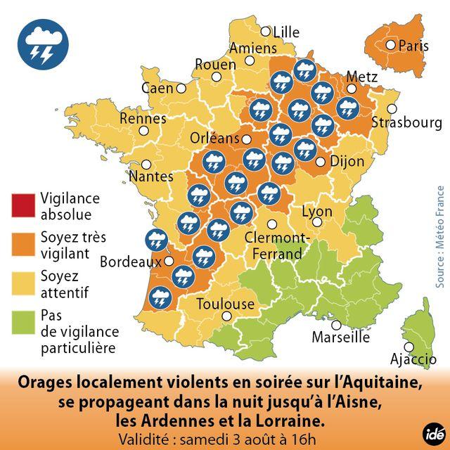 Alerte orange sur 33 départements
