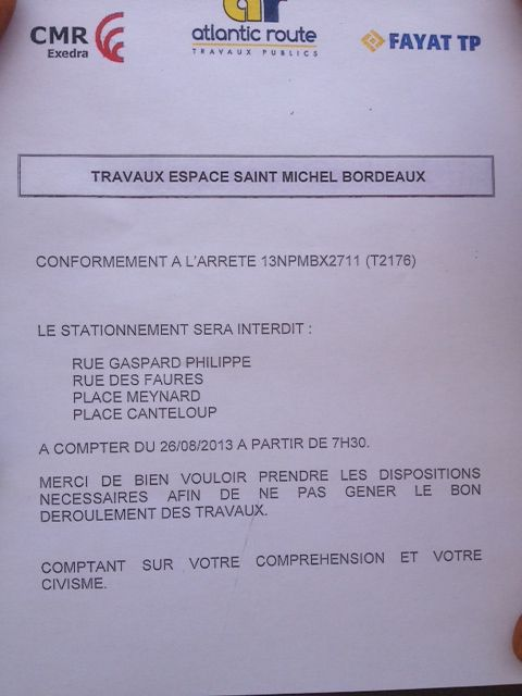 Stationnement interdit sur la place Saint-Michel et alentours à partir d'auj. 7h 30