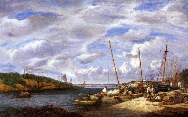 Bateaux de pêche à Douarnenez par Eugène Boudin - 1855