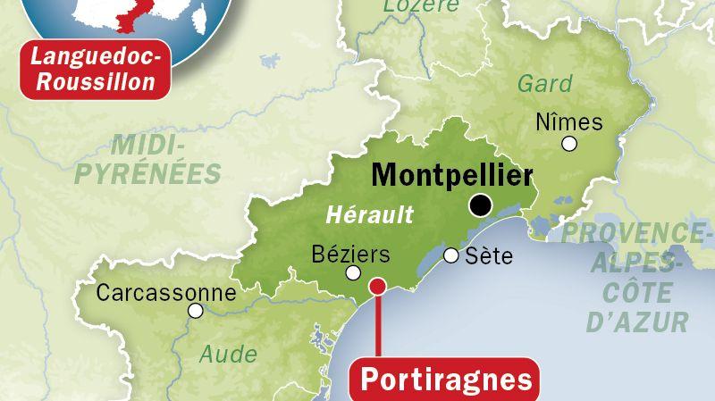 Carte de localisation de Portiragnes (Hérault)