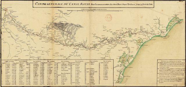 """""""Carte générale du canal royal pour la communication des deux mers depuis Toulouse jusqu'au port de Cette"""" - XIXème siècle"""