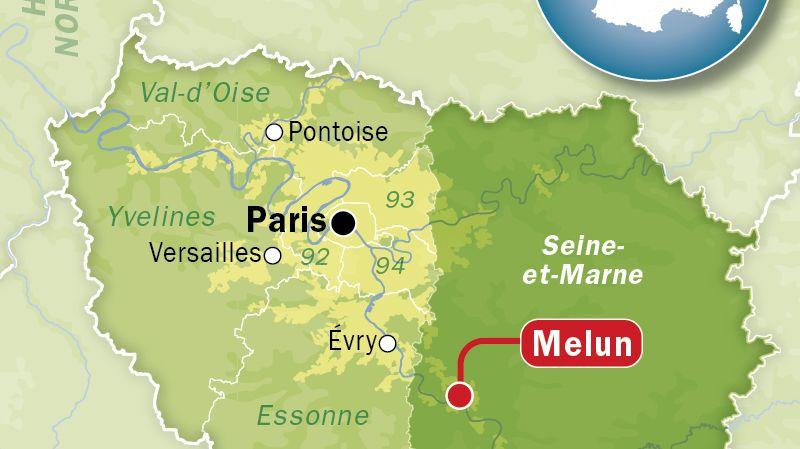 Carte de localisation de Melun (Seine-et-Marne)