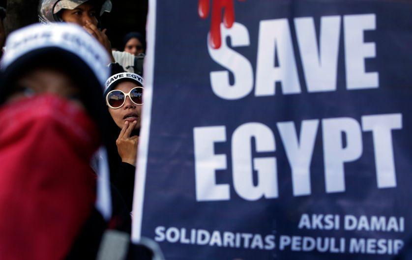 Egypte : manifestation contre le gouvernement egyptien devant le siège des Nations Unies à Djakarta