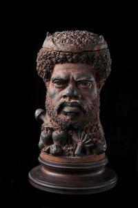 Pot à tabac représentant une tête d¿homme kanak - Seconde partie du 19e siècle