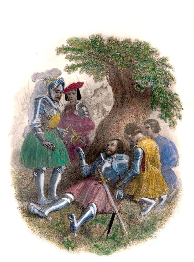 "La mort de Bayard - ""Histoire de France depuis les temps les plus reculés jusqu'à la mort de Louis XVI"" - 1839"