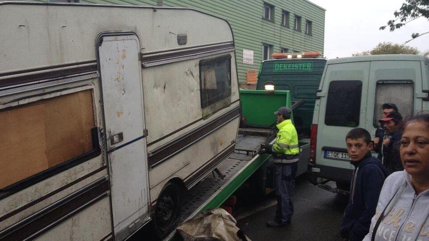 Roms caravanes Lille évacuation démantèlement campement camps