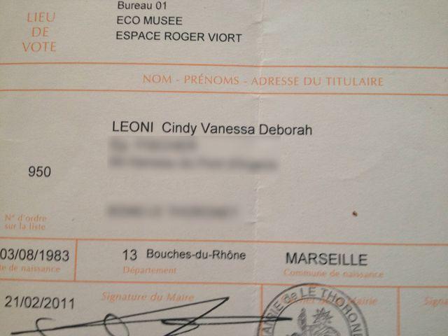 La carte d'Electeur de Cindy Leoni