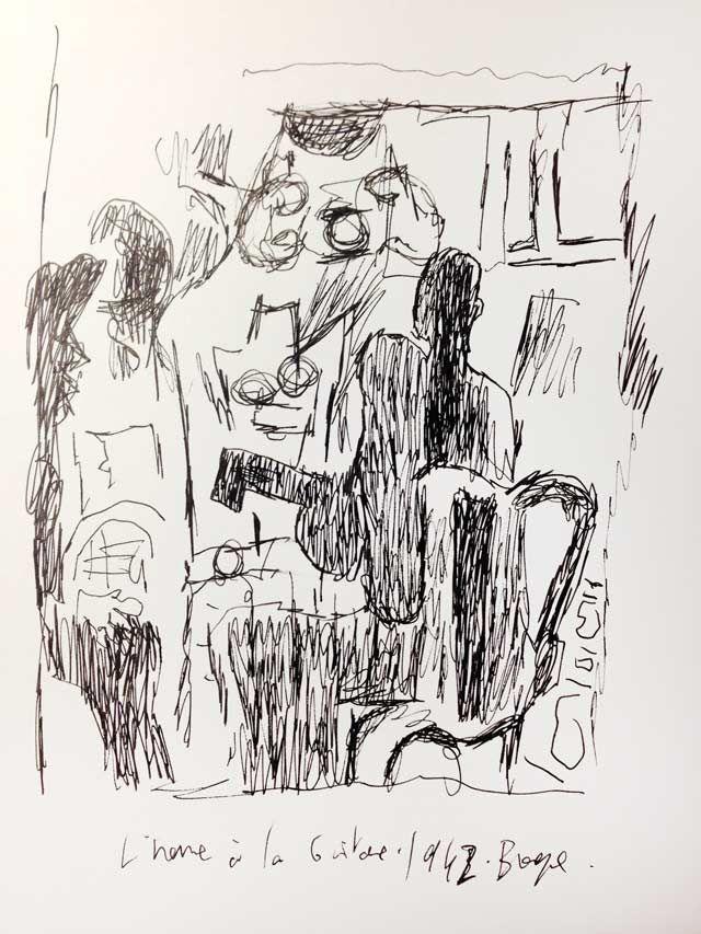 """""""L'homme à la guitare"""" de Georges Braque, revu par Joann Sfar"""