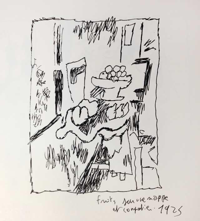"""""""Fruits sur une nappe et compotier"""" de Georges Braque, revu par Joann Sfar"""
