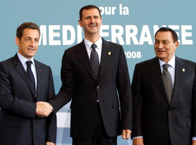 Nicolas Sarkozy, Bachar el-Assad et Hosni Mubarak lors du sommet de l'Union pour la Méditerranée le 13/07/2008