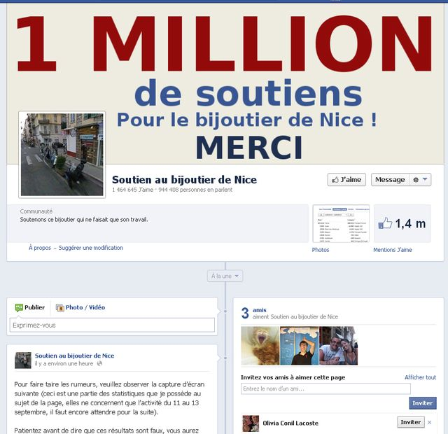 Page Facebook en soutien au bijoutier de Nice