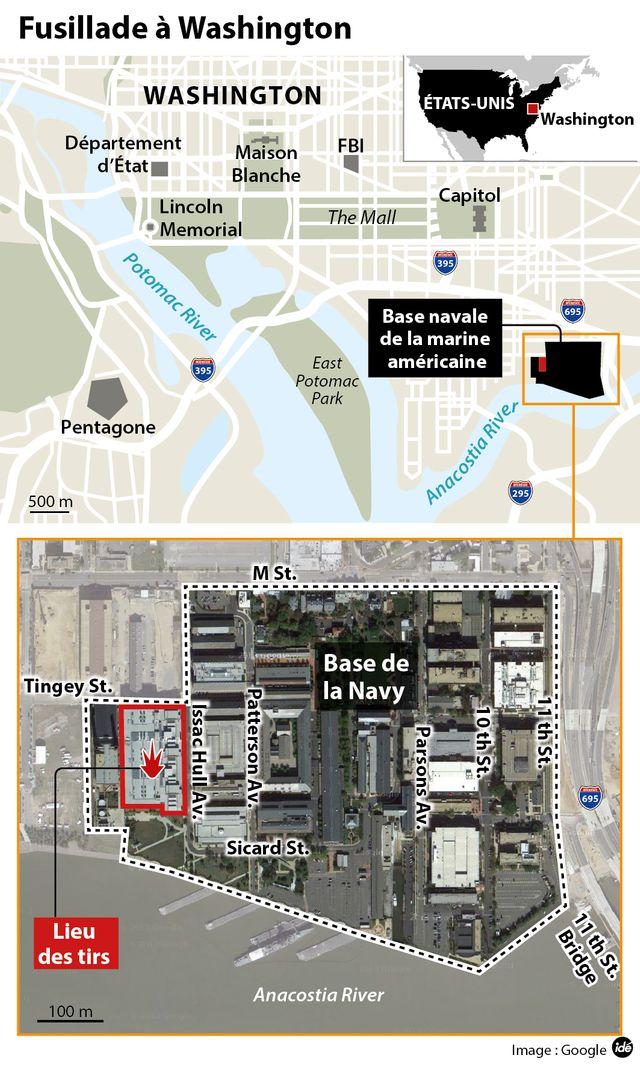 Fusillade de Washington : le plan des lieux
