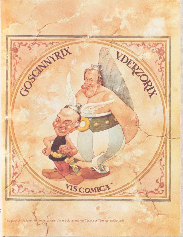Goscinnyrix – Uderzorix - Vis comica, Caricature des auteurs par Albert Uderzo Frontispice de La Rose et le Glaive Édition origi