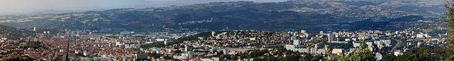 Panorama de Saint-Étienne, vu du Guizey, en bordure du Parc du Pilat