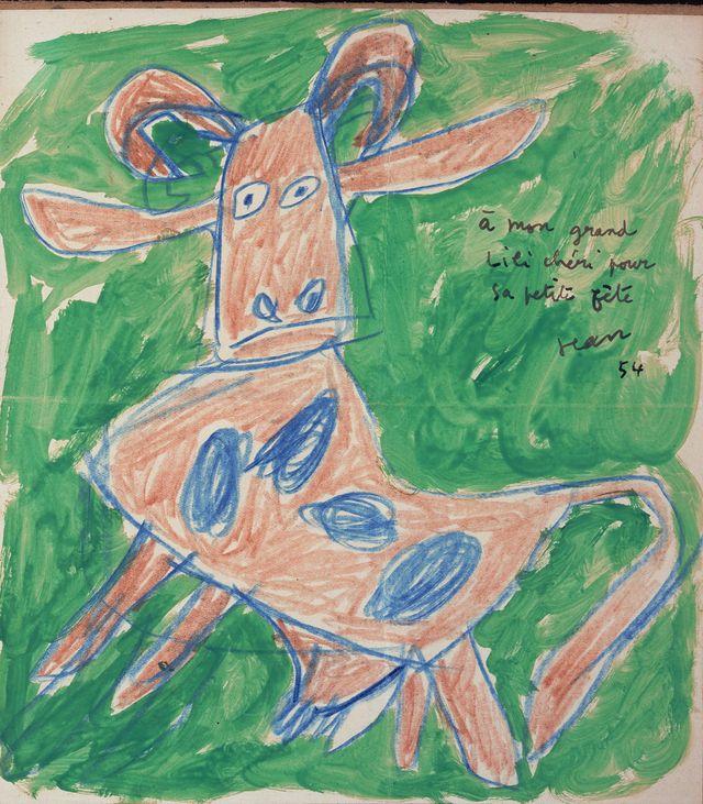 Dessin de vache tachetée par Jean Dubuffet