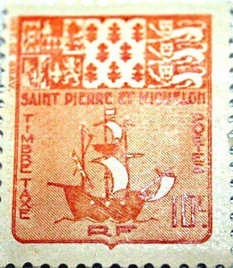 Timbre de Saint-Pierre et Miquelon - vers 1947