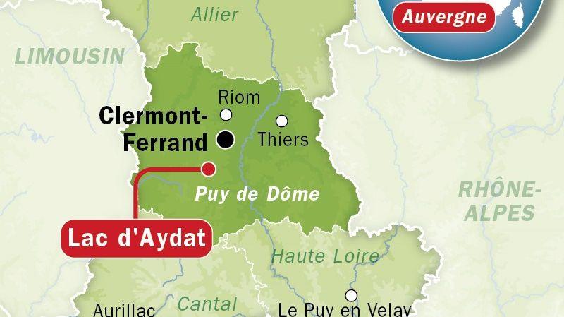 Carte de situation du lac d'Aydat (Puy-de-Dôme)