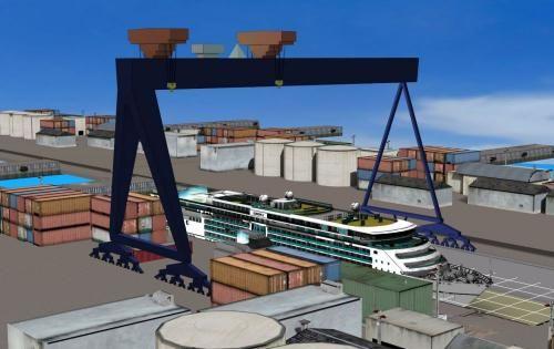 Le futur portique des chantiers STX de Saint-Nazaire