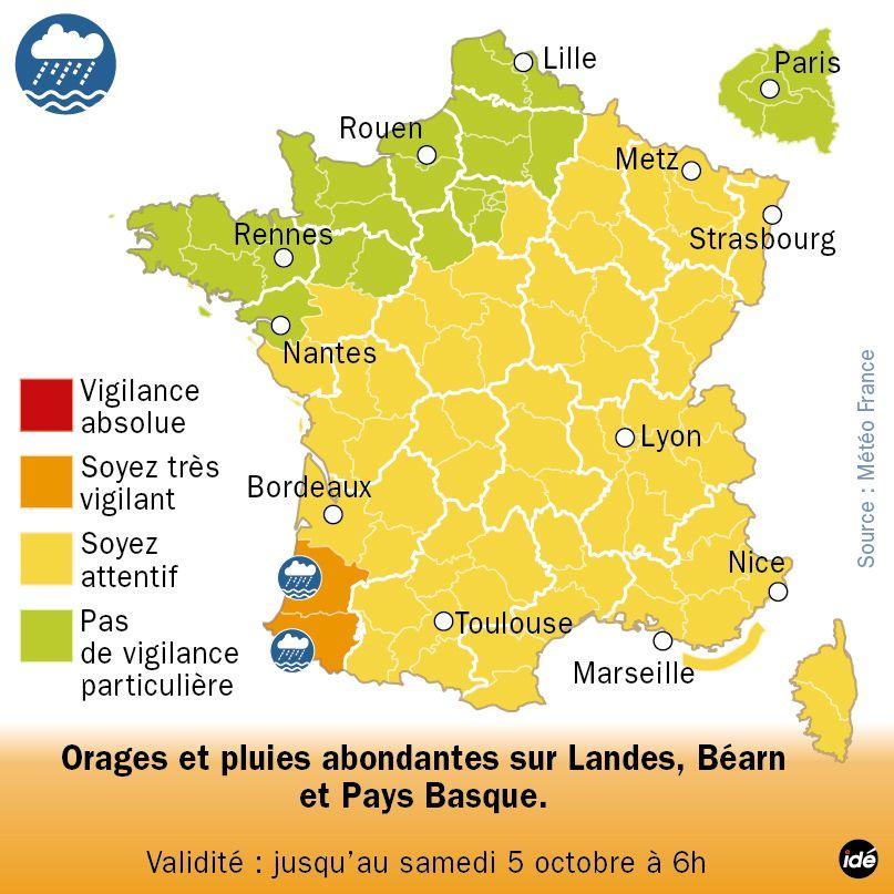 Orages et pluies sur Landes, Béarn et Pays Basque