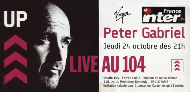 Peter Gabriel 104 carton invitation 2002