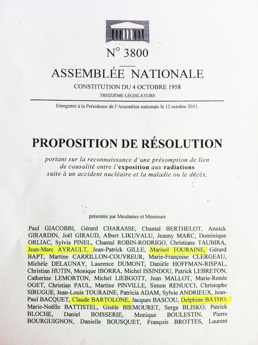 Première page de la proposition de loi tendant à la reconnaissance et à l'indemnisation des victimes d'un accident nucléaire