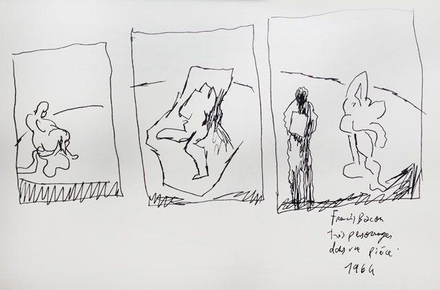 """""""Trois personnages dans une pièce"""" de Francis Bacon (1964), revisité par Joann Sfar"""
