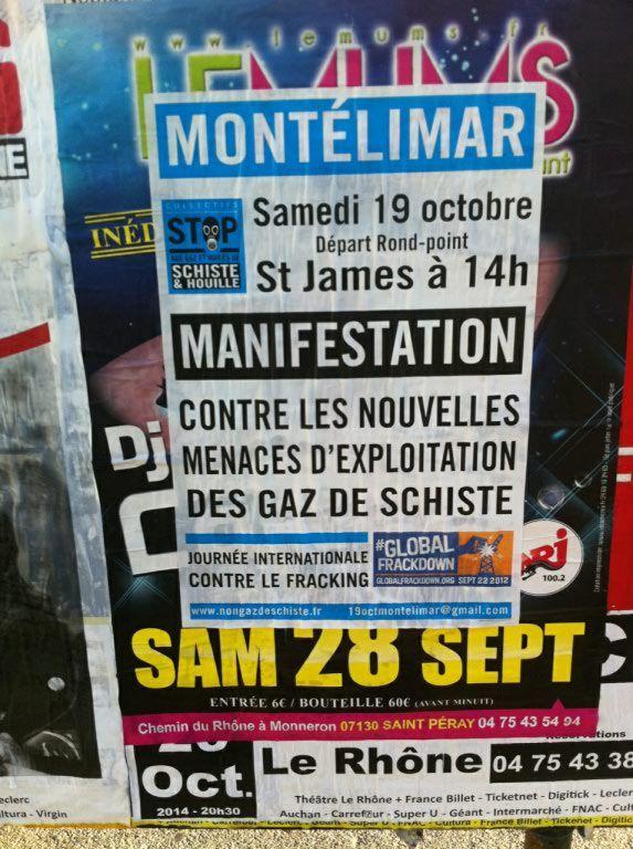L'affiche de la manif gaz de schiste à Montélimar