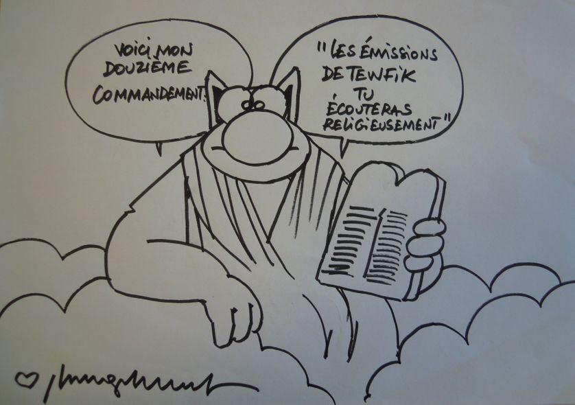 """Dessin réalisée pendant l'enregistrement par Philippe Geluck pour """"Un Autre Jour est Possible"""""""