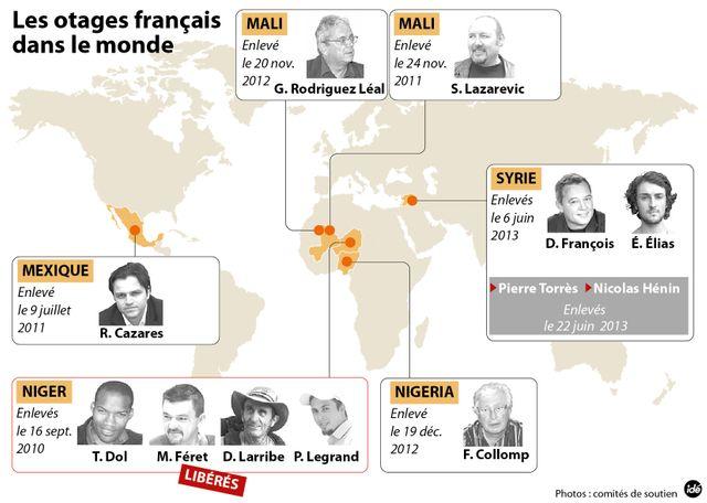 Les otages français dans le monde