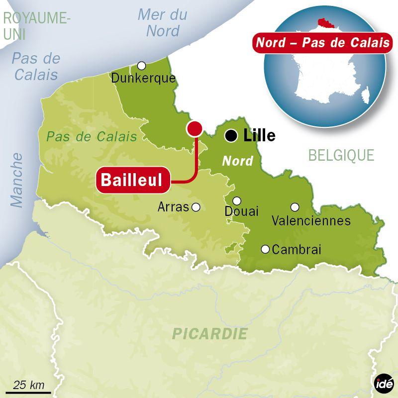 Carte de localisation Bailleul dans le Nord - Agence Idé