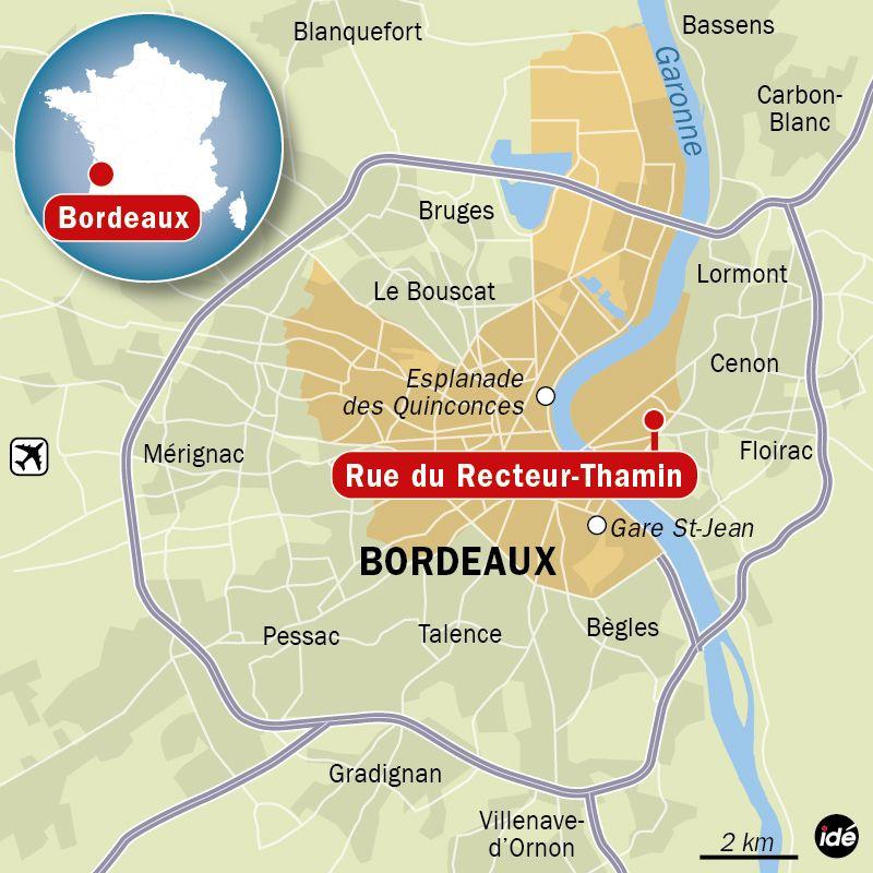 Bordeaux : un père de famille tire sur sa femme et ses trois enfants. Carte de localisation de la rue du Recteur-Tham