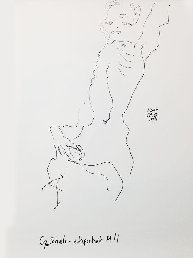 """""""Autoportrait"""" d'Egon Schiele (1911), revisité par Joann Sfar"""