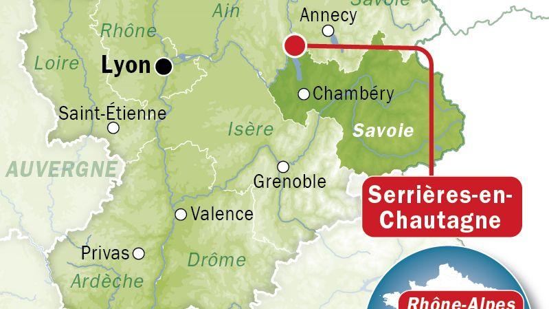 Carte de localisation de Serrières-en-Chautagne (Savoie)