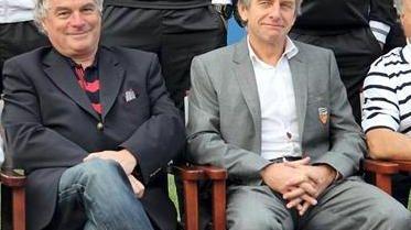 Jean-Guy Le Floc'h, PDG d'Armox-Lux (à g.) et Christian Gourcuff, entraîneur du FC Lorient (à d.)