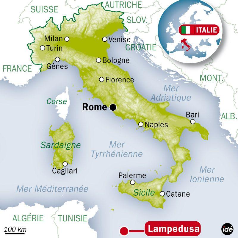 Carte de localisation de l'île de Lampedusa