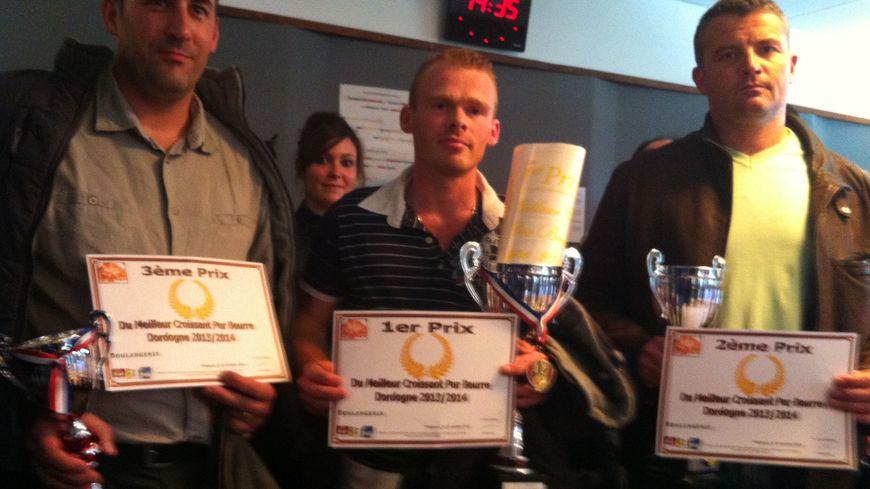 Au centre, le vainqueur: Jean-Baptiste Béague. A droite: le 2ème, Bernard Boclet, à droite: Jean-Philippe Blondy, le 3ème.