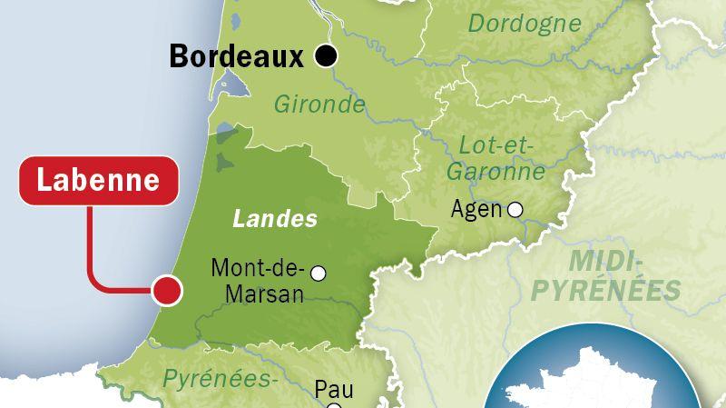 Carte de situation de Labenne (Landes)