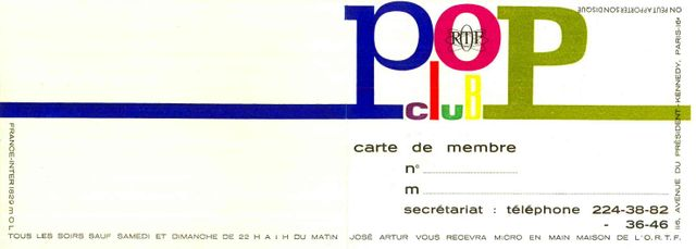 Pop club carte de membre 1966