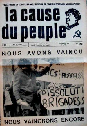Le journal La cause du Peuple édité par la Gauche prolétarienne