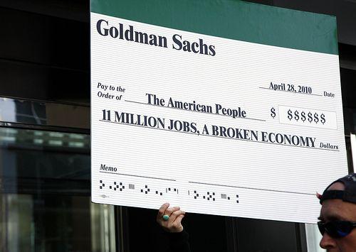 Pancarte Goldman Sachs