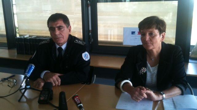 J-C Borel-Garin le directeur départemental de la Sécurité publique et M-M Alliot la Procureur de la République de Bordeaux