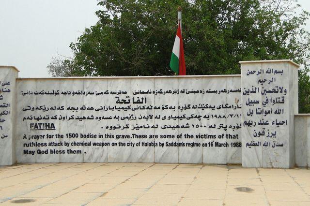 Monument aux victimes de l'attaque chimique sur Halabja au Kurdistan irakien en mars 1988