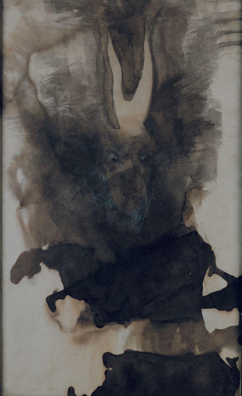 Tête de diable (V.Hugo) - Plume, lavis et encre sur papier