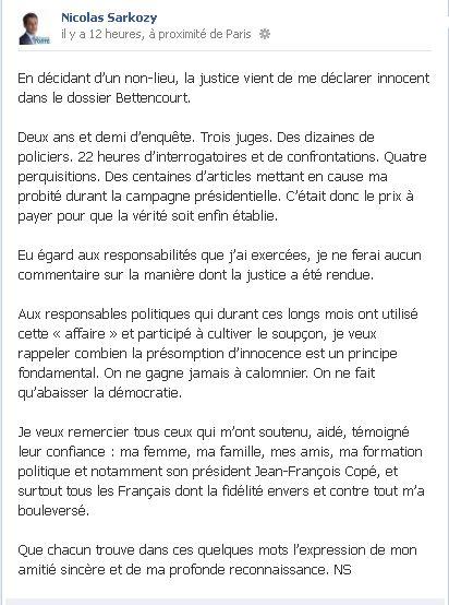 Sarkozy sur Facebook